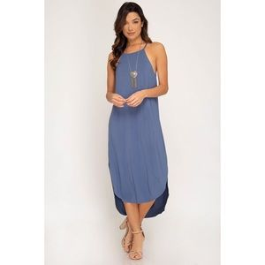 Heather Cami Midi Dress - Dusty Blue